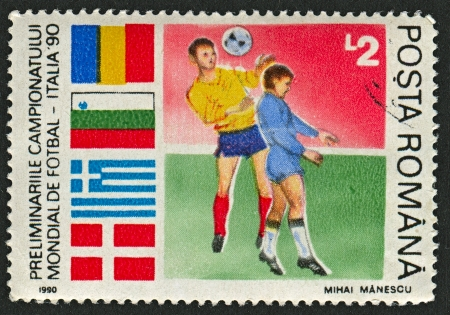 ROMANIA - CIRCA 1990: A stamp printed in Romania shows image of the Italian Football World