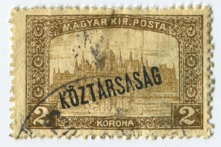 mediaval: HUNGARY - CIRCA 1918: A stamp printed in Hungary shows image of the Parliament House, circa 1918. Editorial