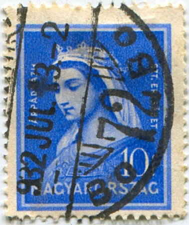mediaval: HUNGARY - CIRCA 1932: Postage stamps printed in Hungary dedicated to Elizabeth of Hungary (1207-231), Princess, Countess, Catholic saint, circa 1932.