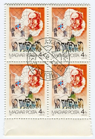 mediaval: HUNGARY - CIRCA 1987: Postage stamps printed in Hungary dedicated to Roald Amundsen (1872-1928), Norwegian explorer of polar regions, circa 1987.