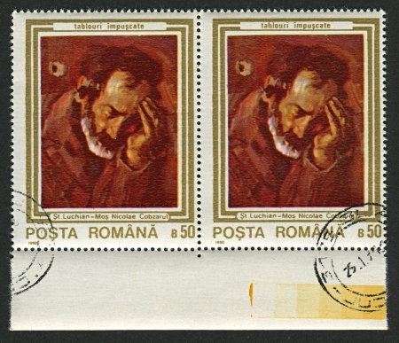 mediaval: ROMANIA - CIRCA 1990: A stamp printed in Romania shows painting of Stefan Luchian (1868-1917),  Romanian painter, circa 1990.