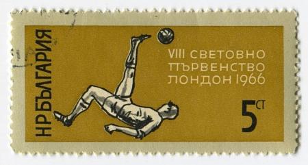 dedicated: BULGARIA - CIRCA 1966: Postage stamps printed in Bulgaria dedicated to FIFA World Cup (1966), circa 1966.