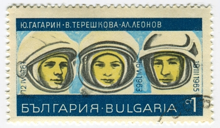 tereshkova: BULGARIA - CIRCA 1967: I francobolli stampati in Bulgaria dedicato a Yuri Gagarin (1934-1968), Valentina Tereshkova (1937) e Alexey Leonov (1934), cosmonauti russi, circa 1967.