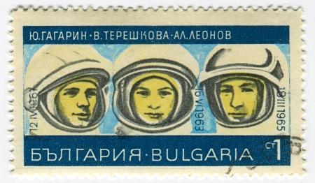 tereshkova: BULGARIA - CIRCA 1967: Postage stamps printed in Bulgaria dedicated to Yuri Gagarin (1934-1968), Valentina Tereshkova (1937) and Alexey Leonov (1934), Russian cosmonauts, circa 1967.