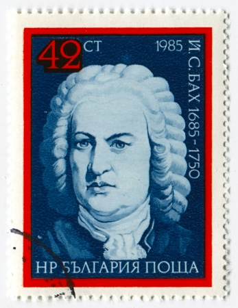 BULGARIA - CIRCA 1985: Postage stamps printed in Bulgaria dedicated to Johann Sebastian Bach (1685-1750), German composer, organist, harpsichordist, violist, and violinist, circa 1985. Editorial