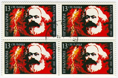sociologist: BULGARIA - CIRCA 1988: Postage stamps printed in Bulgaria dedicated to Karl Marx (1818-1883), German philosopher, economist, sociologist, historian, journalist, and revolutionary socialist, circa 1988.