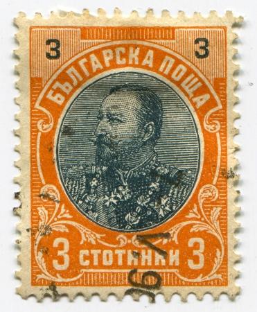 philatelist: BULGARIEN - CIRCA 1901: Briefmarken in Bulgarien gedruckt gewidmet Ferdinand (1861-1948), Bulgarisch Knyaz, Zar, Autor, Botaniker, Entomologe und Philatelist, circa 1901.