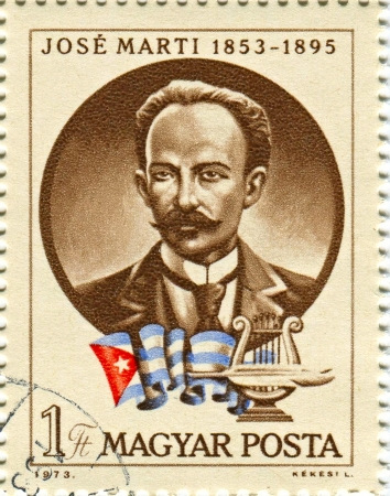 essayist: HUNGARY - CIRCA 1973: Postage stamps printed in Hungary dedicated to Jose Marti (1853-1895), Cuban poet, an essayist, a journalist, a revolutionary philosopher, a translator, a professor, a publisher, and a political theorist, circa 1973.  Editorial