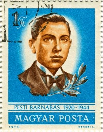 barnabas: HUNGARY - CIRCA 1973: Postage stamps printed in Hungary dedicated to Barnabas Pesti (1920-1944), Hungarian resistance fighter, circa 1973.