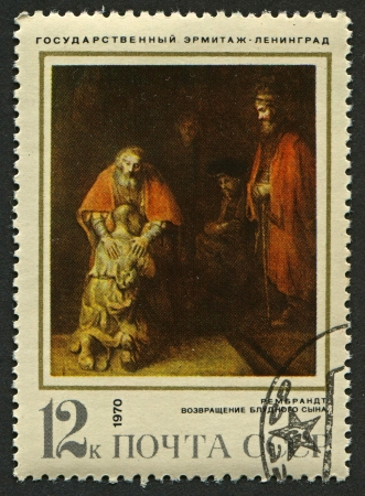 rembrandt: USSR - CIRCA 1970: A stamp printed in USSR shows an oil painting The Return of the Prodigal Son by Rembrandt, circa 1970.