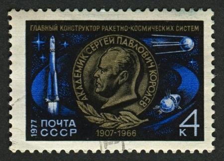 USSR - CIRCA 1977: Postage stamp printed in USSR dedicated to Sergei Pavlovich Korolev (1907-1966), Soviet rocket engineer and spacecraft designer, circa 1977.