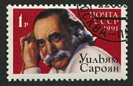 dramatist: USSR - CIRCA 1991: Postage stamp printed in USSR dedicated to William Saroyan (1908-1981), Armenian American dramatist and author, circa 1991.