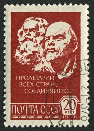 mediaval: USSR - CIRCA 1976: A stamp printed in USSR shows image of Karl Marx (1818-1883) and Vladimir Ilyich Lenin (1870-1924), circa 1976.