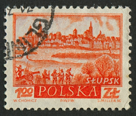 mediaval: POLAND - CIRCA 1960: A stamp printed in Poland shows image of the village Stupsk, circa 1960.