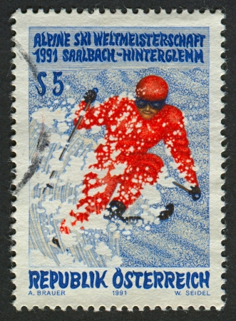 mediaval: AUSTRIA - CIRCA 1991: Postage stamp printed in Austria dedicated to FIS Alpine World Ski Championships (1991), circa 1991.  Editorial