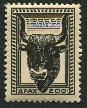 mediaval: GREECE - CIRCA 1954: A stamp printed in Greece shows image of the head of bull, circa 1954.  Editorial