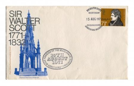 sir walter scott: UK - CIRCA 1971: A stamp printed in UK shows image of the Sir Walter Scott, circa 1971.