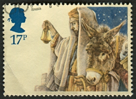 mediaval: UK - CIRCA 1984: A stamp printed in UK shows image of The arrival in Bethlehem, circa 1984.