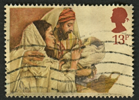UK - CIRCA 1984: A stamp printed in UK shows image of The Christmas is an annual commemoration of the birth of Jesus Christ and a widely observed holiday, celebrated generally on December 25, circa 1984.