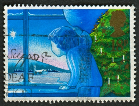UK - CIRCA 1987: A stamp printed in UK shows image of The Waiting for Father Christmas, circa 1987.