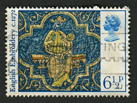 UK - CIRCA 1976: A stamp printed in UK shows image of The Virgin and Child, circa 1976.