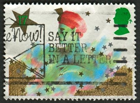 pantomima: Reino Unido - alrededor de 1985: Un sello impreso en Reino Unido muestra la imagen de la Navidad. Personajes Pantomima, alrededor del a?o 1985. Editorial