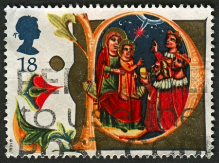 UK - CIRCA 1991: A stamp printed in UK shows image of The Adoration of the Magi, circa 1991.