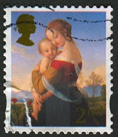 UK - CIRCA 2008: A stamp printed in UK shows image of The Madonna, circa 2008.