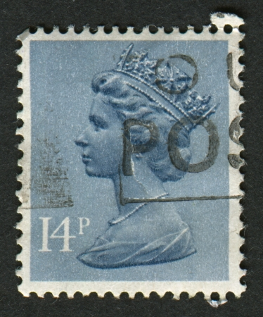 constitutional: UK-CIRCA 1981:A stamp printed in UK shows image of Elizabeth II is the constitutional monarch of 16 sovereign states known as the Commonwealth realms, in Grey Blue, circa 1981.