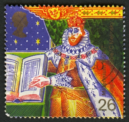 king james: UK - CIRCA 1999: A stamp printed in UK shows image of the King James I and Bible (Authorised Version of Bible), circa 1999.