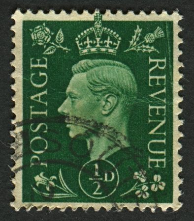 UK - CIRCA 1950: A stamp printed in UK shows image of the George VI (Albert Frederick Arthur George) was King of the United Kingdom and the Dominions of the British Commonwealth from 11 December 1936 until his death, circa 1950.  Editorial