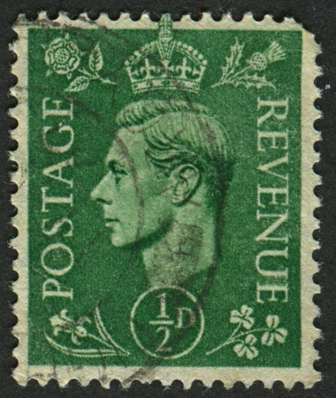 UK - CIRCA 1950: A stamp printed in UK shows image of the George VI (Albert Frederick Arthur George) was King of the United Kingdom and the Dominions of the British Commonwealth from 11 December 1936 until his death, circa 1950.  Stock Photo - 19740172
