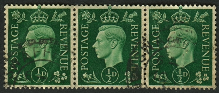 vi: UK - CIRCA 1950: A stamp printed in UK shows image of the George VI (Albert Frederick Arthur George) was King of the United Kingdom and the Dominions of the British Commonwealth from 11 December 1936 until his death, circa 1950.  Editorial