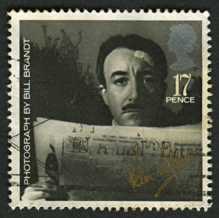 brandt: UK - CIRCA 1985: A stamp printed in UK shows image of the Peter Sellers (from photo by Bill Brandt), British Film Year , circa 1985.