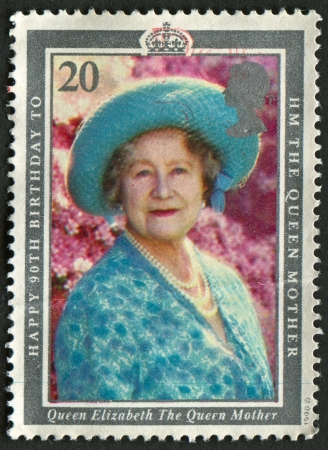 UK - CIRCA 1990: A stamp printed in UK shows image of the 90th Birthday of Queen Elizabeth the Queen Mother, circa 1990.