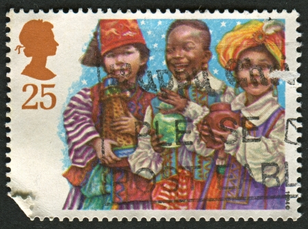 UK - CIRCA 1994: A stamp printed in UK shows image of the Three Wise Men, Christmas, Children's Nativity Plays circa 1994.