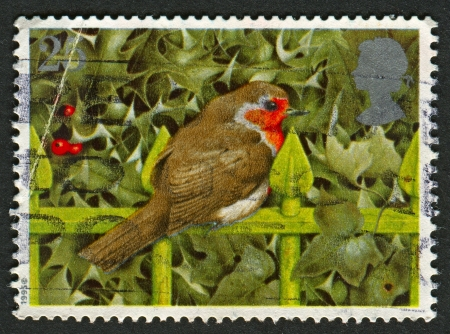 UK - CIRCA 1995: A stamp printed in UK shows image of the European Robin on Railings and Holly, circa 1995.  Stock Photo - 20738797