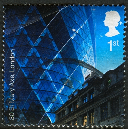 30 st mary axe: UK - CIRCA 2006: A stamp printed in UK shows image of the 30 St Mary Axe (AKA The Gherkin), London EC3, Modern Architecture, circa 2006.  Editorial