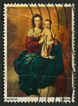 murillo: UK - CIRCA 1967: A stamp printed in UK shows image of the Madonna and Child (Murillo), circa 1967.  Editorial