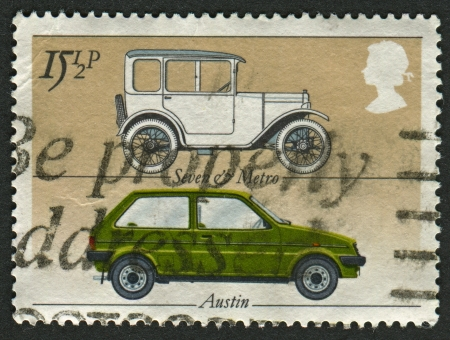 UK - CIRCA 1982: A stamp printed in UK shows image of the Austin 'Seven' and 'Metro', British Motor Industry, circa 1982.
