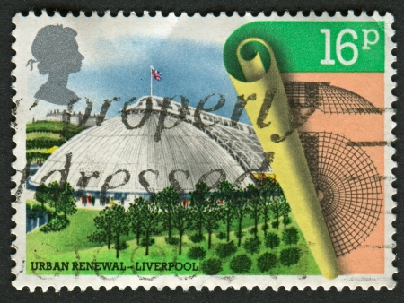 mediaval: UK - CIRCA 1984: A stamp printed in UK shows image of the Festival Hall, Liverpool, Urban Renewal, circa 1984.