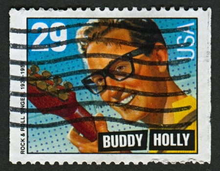 professionally: US - CIRCA 1993: A stamp printed in US shows image of the Charles Hardin Holley, known professionally as Buddy Holly, was an American singer-songwriter and a pioneer of rock and roll, circa 1993.  Editorial