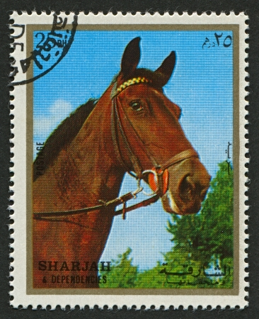 extant: EMIRATE OF SHARJAH - CIRCA 1972: A stamp printed in Emirate of Sharjah shows image of The horse (Equus ferus caballus) is one of two extant subspecies of Equus ferus, or the wild horse, circa 1972 .