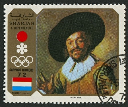 frans: EMIRATE OF SHARJAH - CIRCA 1972  : A stamp printed in Emirate of Sharjah shows image of the Frans Hals the Elder (c. 1582 - 26 August 1666) was a Dutch Golden Age painter born in the Southern Netherlands (present-day Belgium), circa 1972  .