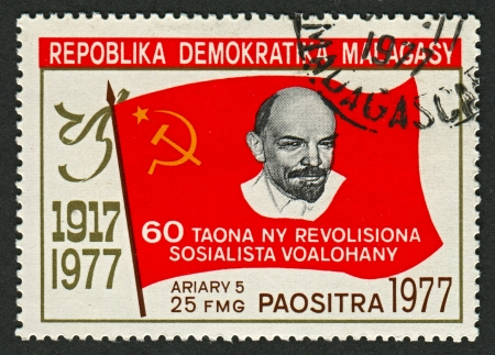 dismantled: MADAGASCAR - CIRCA 1977  : A stamp printed in Madagascar     shows image of The Russian Revolution is the collective term for a series of revolutions in Russia in 1917, which dismantled the Tsarist autocracy and led to the creation of the Russian SFSR, ci Editorial
