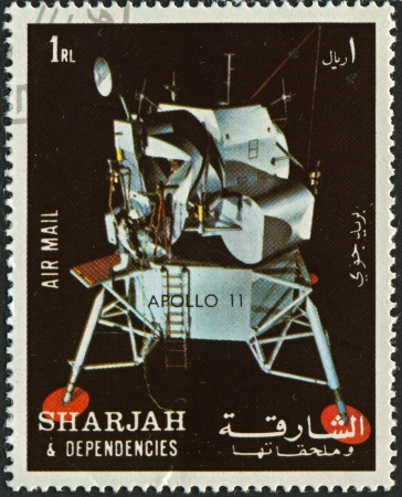 spaceflight: EMIRATE OF SHARJAH - CIRCA 1972  : A stamp printed in Emirate of Sharjah shows image of the Apollo 11 was the spaceflight that landed the first humans on the Moon, Americans Neil Armstrong and Buzz Aldrin, on July 20, 1969, at 20:18 UTC, circa 1972  .