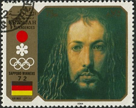 durer: Emirato di Sharjah - CIRCA 1972: Un timbro stampato in Emirato di Sharjah mostra immagine del Albrecht Durer (21 maggio 1471 - 6 aprile 1528) � stato un pittore tedesco, incisore, incisore, matematico e teorico di Norimberga, circa 1972. Editoriali