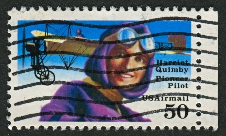 screenwriter: USA - CIRCA 1991: A stamp printed in USA shows image of the Harriet Quimby (May 11, 1875 - July 1, 1912) was an early American aviator and a movie screenwriter, circa 1991.  Editorial