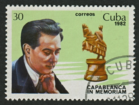 CUBA - CIRCA 1982: A stamp printed in Cuba shows image of the Jose Raul Capablanca y Graupera (19 November 1888 - 8 March 1942) was a Cuban chess player who was world chess champion from 1921 to 1927, circa 1982. Editorial