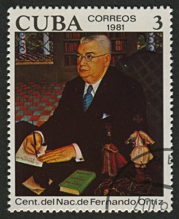 essayist: CUBA - CIRCA 1981: A stamp printed in Cuba shows image of the Fernando Ortiz Fernandez (16 July 1881 - 10 April 1969) was a Cuban essayist, anthropologist, ethnomusicologist and scholar of Afro-Cuban culture, circa 1981.